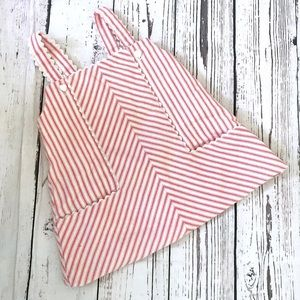 Vintage apron dress red & white candy striped